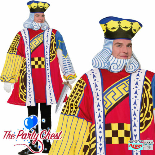 KING OF HEARTS PLAYING CARD COSTUME Casino Alice Fancy Dress Outfit 76831