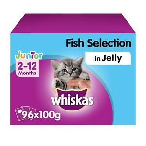 96 x 100g Whiskas 2-12 Months Kitten Wet Cat Food Pouches Mixed Fish in Jelly