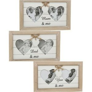 Provence Double Heart Shabby Chic Wooden Photo Frame Mum Me Dad