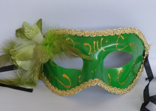 Venetian Face Masquerade Mask Ribbon Tie On Green /& Gold With Flower