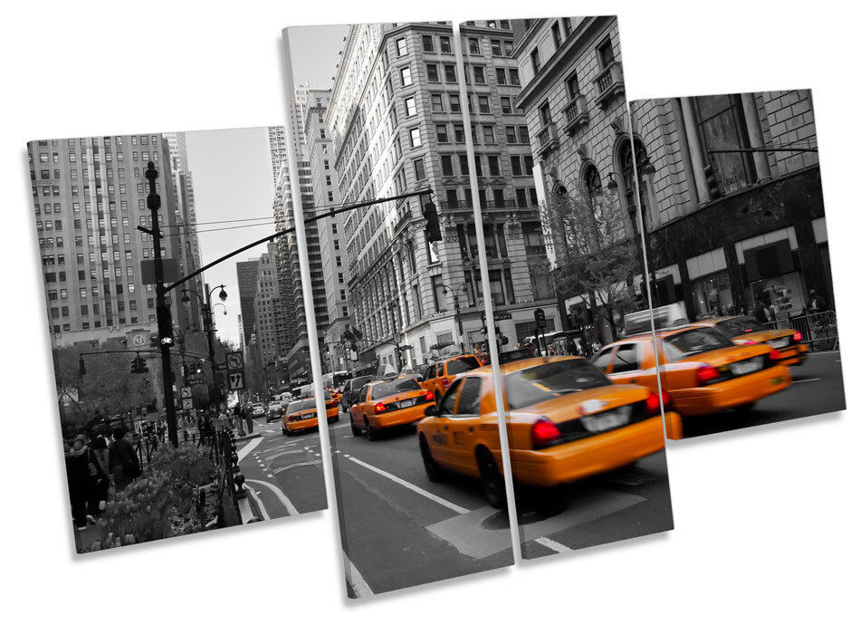 New York City Taxi Cabs CANVAS WALL ART MULTI Panel Print Picture