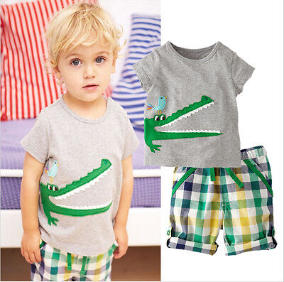 Toddler Baby Kids Boys Summer Clothes Tops T-shirt Pants Outfits Set Size 2T-7T