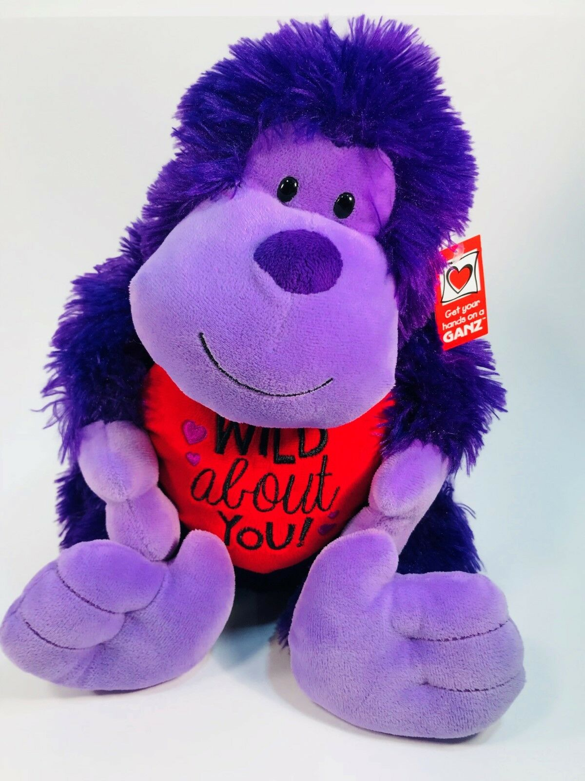 Purple Plush Valentine Monkey  Wild About You  Red Heart Shaped Pillow NWT 13