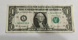 2013-1-Note-One-Dollar-Bill-Fancy-Serial-Number-Broken-Ladder-L-36383739-R
