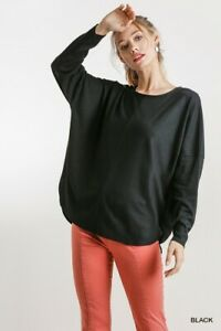 Umgee-Black-Ribbed-Long-Dolman-Sleeve-Knit-Top