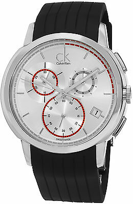 Calvin Klein Men's Drive Swiss Quartz Black Rubber Strap Date Watch K1V27926