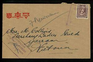Postal History Australia Scott #151 Censor Military YMCA 1940's Unk Yarram