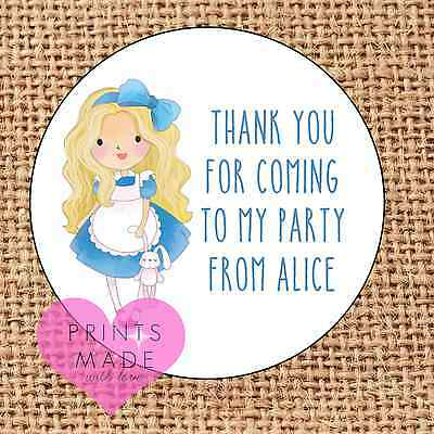 Alice in wonderland party bag stickers thank you for coming sweet cone labels 24