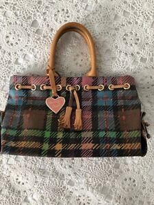 Women-Multi-Color-DOONEY-amp-BOURKE-Plaid-Vinyl-Handbag-Purse-Leather-Hand-Str