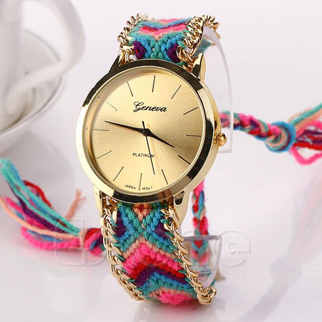 Women Geneva Classic Braid Bracelet Ethnic Dial Analog Quartz Chain Wrist Watch
