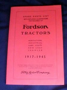 Fordson Tractors Spare Parts List Booklet Ford Motor Illustrations 1917 - 1945