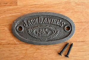 Vintage style small cast iron Jack Daniel's sign badge plaque