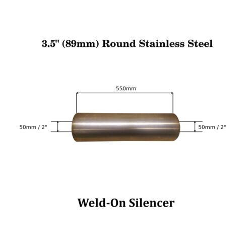 """50mm 2 /"""" 3,5 /""""x 22/"""" souder sur acier inoxydable boîte D/'échappement Silencieux corps alésage"""