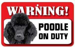 Black-Poodle-Sign-Laminated-Card-Beware-Of-Dog-20cm-x-12cm