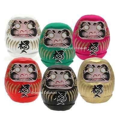 """6 PCS. Japanese 2.25""""H Wish-Making Daruma Doll Rich Safe Health Love Longevity"""