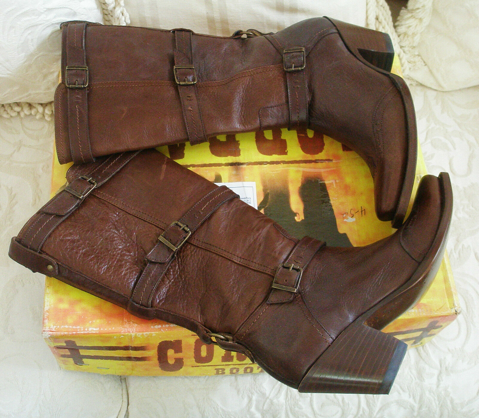 Corral Corral Corral  3 Buckles Wing Tip Chestnut Leather Wesern Fashion Boots Size  8.5 NIB b8407c
