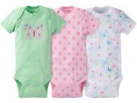 Gerber Baby Girl Onesies Bodysuits Variety 3-pack Baby Shower Gift - Green -