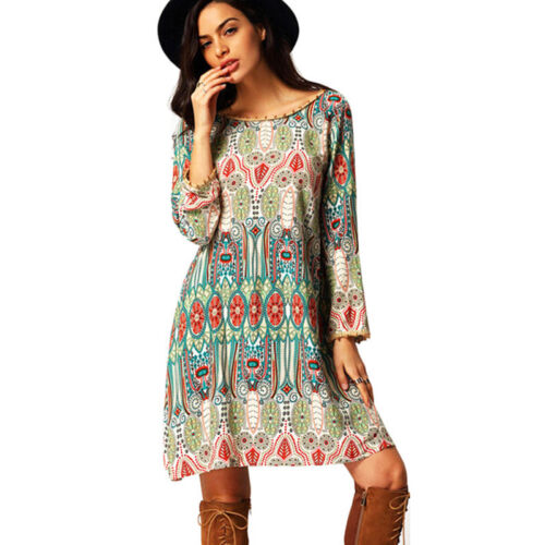 Damen Sommer Boho Minikleid Strandkleid Lässige Sommerkleid Tunika Kleider Tops