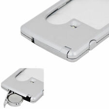 Pocket Credit Card Size Portable 3x 6x Magnifier Magnifying with LED light Glass