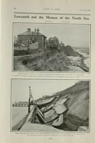 1903 PRINT PAKEFIELD RECTORY LOWESTOFT SEA DESTROYED NEW SEA WALL GROYNES