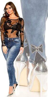Curvy Girls Damen Jeanshose Skinny Jeans mit Schleife /& Zierperlen