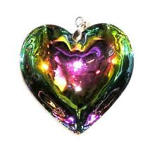 PENDANT/NECKLACE ST Glass Crystal Large FLUID RAINBOW HEART