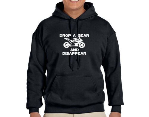 DROP A GEAR AND DISAPPEAR MOTORCYCLE  HOODIE #111 /<FREE SHIPPING/> SIZE: S-2XL