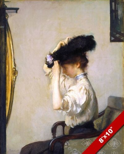 YOUNG WOMAN IN HAT GETTING READY FOR THE MATINEE PAINTING ART REAL CANVAS PRINT