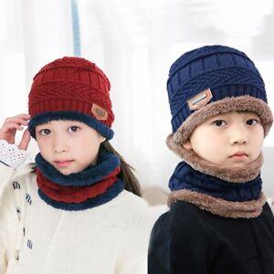 20e1e1f35fe Boy Girls Winter Warm Crochet Knit Baggy Beanie Wool Skull Hat Ski ...