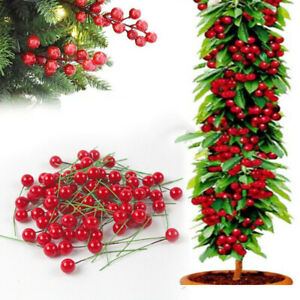 10x Christmas Artificial Red Holly Berry Bundle Garland Wreath Making Home Decor