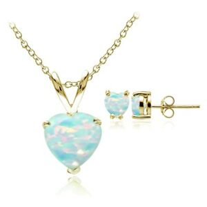 Image Is Loading Yellow Gold Flashed Silver Simulated White Opal Heart