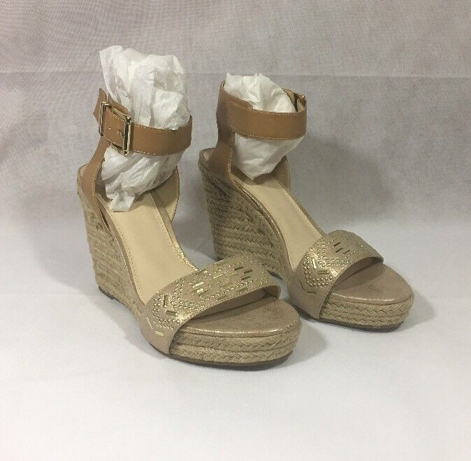 Bar III Athena Womens Size 10M gold Wedge Sandals shoes New In Box