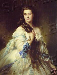 Beautiful-VICTORIAN-Lady-LONG-HAIR-CANVAS-Giclee-Art-Print-LARGE-13-034-x-19-034