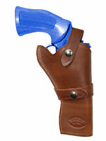 Barsony Brown Leather Western Style Gun Holster For Ruger 4 Revolvers