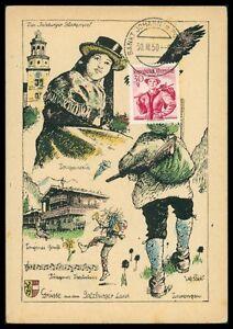 AUSTRIA-MK-1950-TRACHTEN-SALZBURG-COSTUMES-MAXIMUMKARTE-MAXIMUM-CARD-MC-CM-h0738