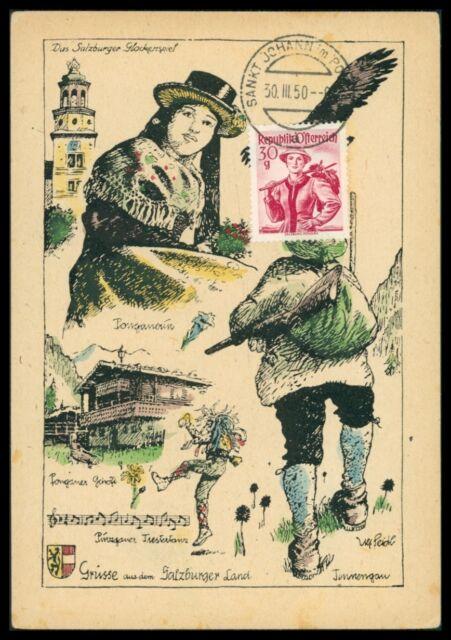 AUSTRIA MK 1950 TRACHTEN SALZBURG COSTUMES MAXIMUMKARTE MAXIMUM CARD MC CM h0738