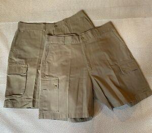 LOT-OF-2-Polo-Ralph-Lauren-38-x-8-25-034-Khaki-100-Cotton-Chino-Cargo-Shorts