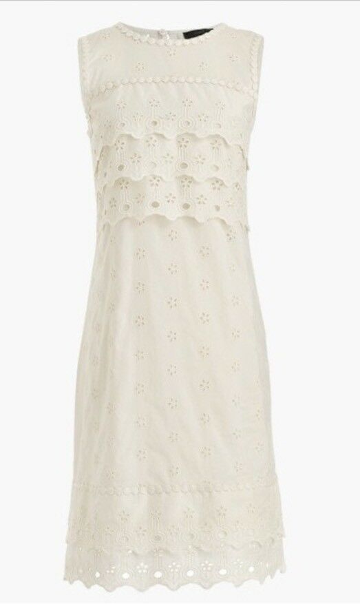 NWT JCREW Tiered Eyelet Dress Size14 In Ivory G8475 FA17 SOLDOUT