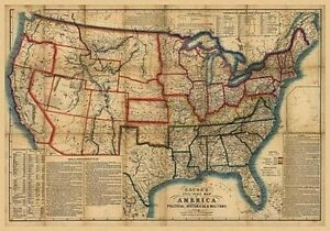 X Vintage Reproduction Civil War Bacons Steel Plate Map Of - Usa map vintage