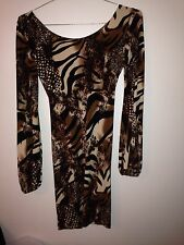 UNALUNA Brown Black Tiger Print Long Sleeve Dress Low V-Back Poly Spandex S (dj)