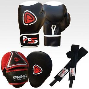 Kids boxing gloves punch bag junior mitts /& focus pads hand wraps training set 8