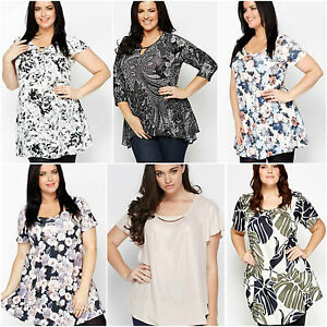 Womens-lace-floral-multi-mono-plus-size-top-dress-tunic-16-18-20-22-24-26-28-30