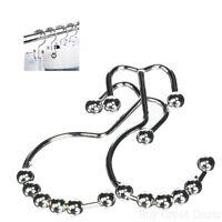 Best Shower Curtain Liner Hooks Ring Double Hanger Stainless Steel Chrome Set 12