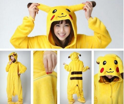 Adult Pikachu Pokemon go Unicorn Costume Fleece Pyjamas  One piece Bodysuit