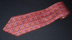 Ermenegildo-Zegna-Tie-Red-Blue-Green-Geometric-Thick-Woven-Italian-Necktie-Silk