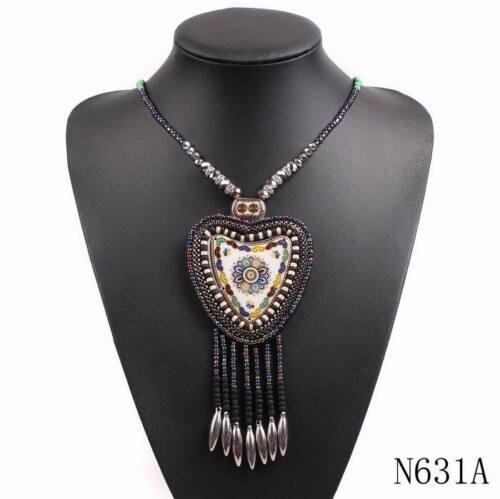 2018 New Design Vintage Long Bead Chain Tassel Statement Choker Heart Necklace