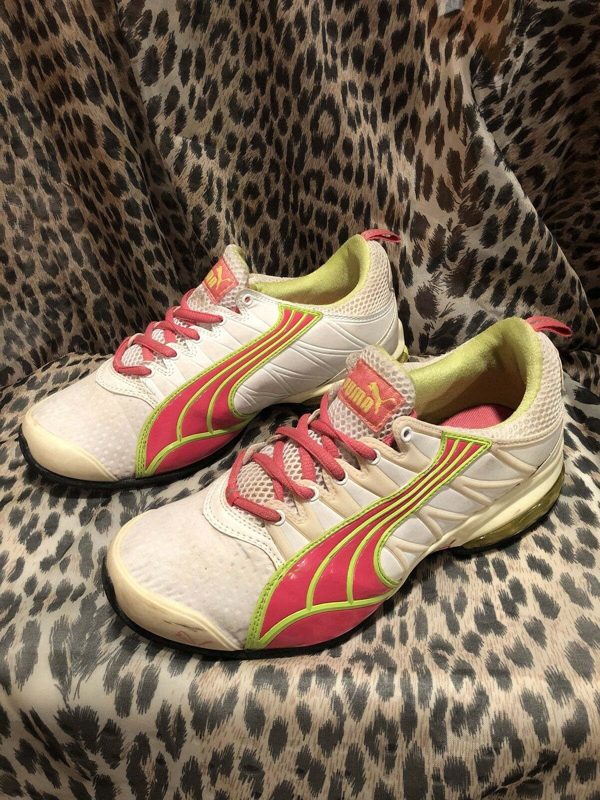 Puma Shoes Voltaic 2 White/Pink/neon Green Sneakers Womens 8 Running Special limited time