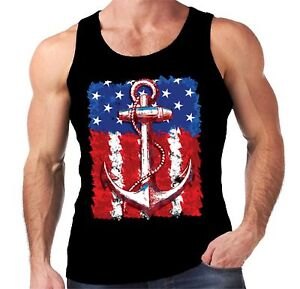 Velocitee Mens Vest American Flag Anchor Usa America Tattoo Biker