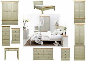 Image Is Loading Painted Grey Oak Top Bedroom Furniture Set Wardrobe