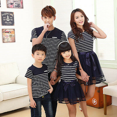 New Father Son T-shirt Mother Daughter Dress Family Striped Casual Beachwear Set